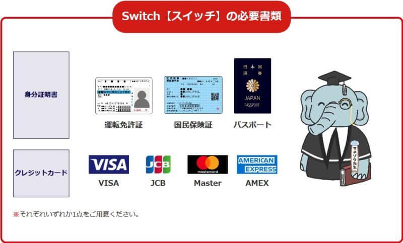 Switch(スイッチ)必要書類